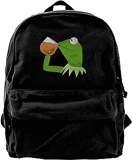 NJIASGFUI Mochila de lona Kermit The Frog Sipping Tea Rucksack Gym Senderismo portátil bolsa de hombro para hombres y mujeres