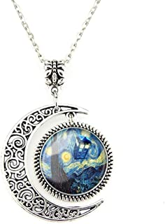 Crimyy Moon Pendant Tardis Doctor Who Starry Night Necklace Van Gogh Jewelry Personalized Necklaces Gift