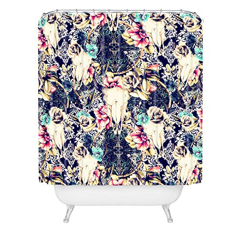 Deny Designs Marta Barragan Camarasa Duschvorhang mit floralem Totenkopf-Muster, 183 x 175 cm, Mehrfarbig