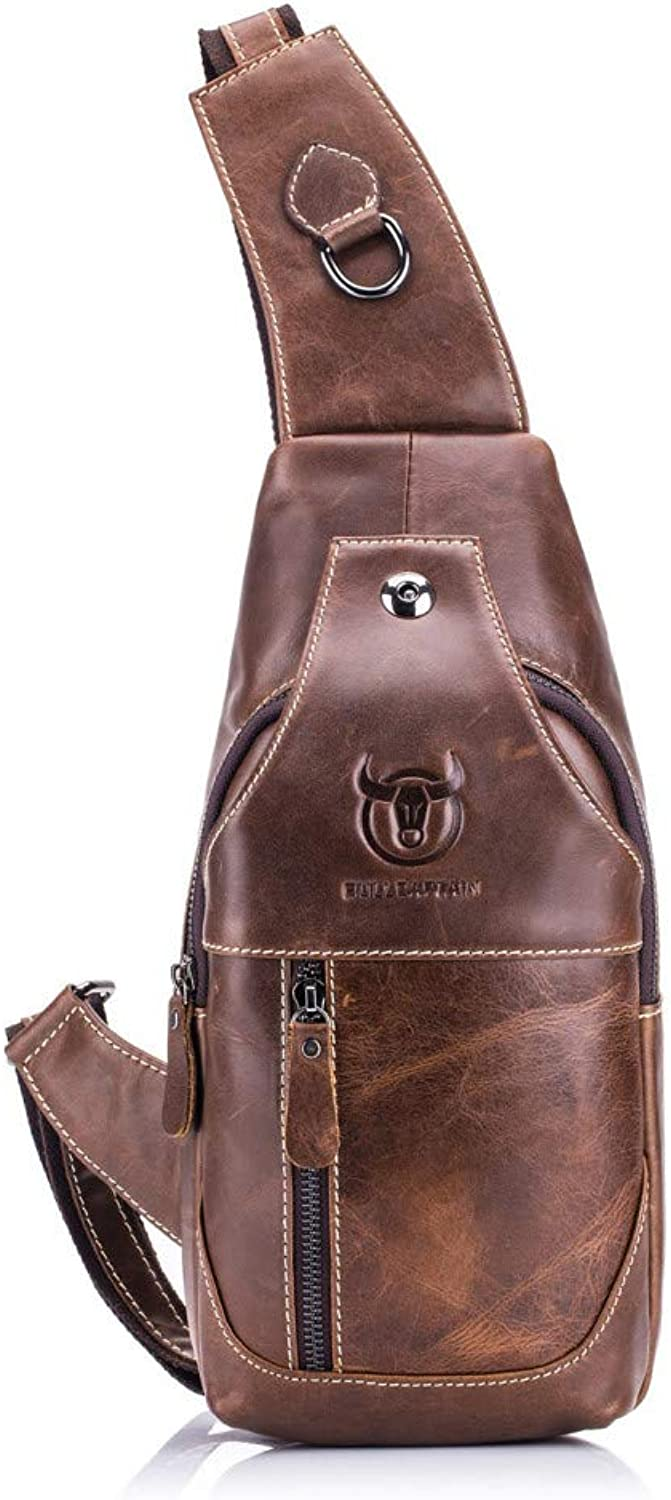 LHKFNU Men's Sling Bag Genuine Leather Chest Shoulder Cross Body Purse Water Resistant Anti Theft for Travel Hiking