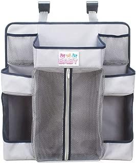 Crib Storage Bag Multi-functional Hanging NappyHanging Diaper Organizer Bag Big Capacity Grey