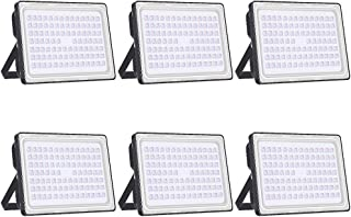 Viugreum 6 Pack LED Flood Light Outdoor, 250W (1500W Halogen Equiv), Thinner and Lighter Design, Waterproof IP65, 1000LM, Warm White (2800-3200K), Super Bright Security Floodlight for Garden, Yard