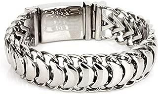 Mens Biker Silver Titanium Stainless Steel Rock Punk Style Link Cuff Personalized Cool Keel Big Chain Bracelet