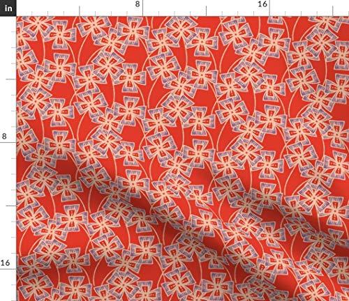 Spoonflower Stoff – Clarkia Amoena Vintage Violett Rot Blumen Retro Pflanzen gedruckt auf Polstermöbel, Samt, Meterware, Polstermöbel, Heimdekoration, unbeschwertes Kleidungsstück