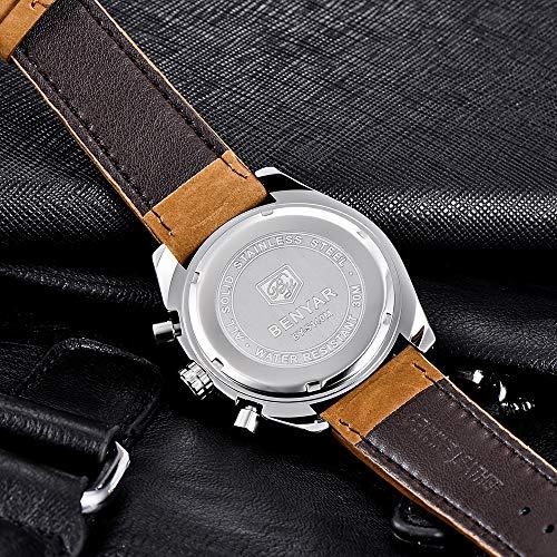 Benyar orologio uomo orologio cinturino pelle uomo cronografo al quarzo orologi da polso, Sportivo di Moda Business 30 M Impermeabile e Antigraffio Elegante Regalo da Uomo