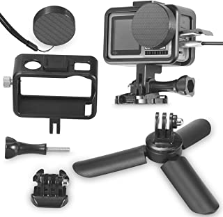 Aboom Metal Frame Accessories Set of 5 for DJI Osmo Action Accessories with Mini Tripod, Housing Cage with Cold Shoe Charging Without Removing