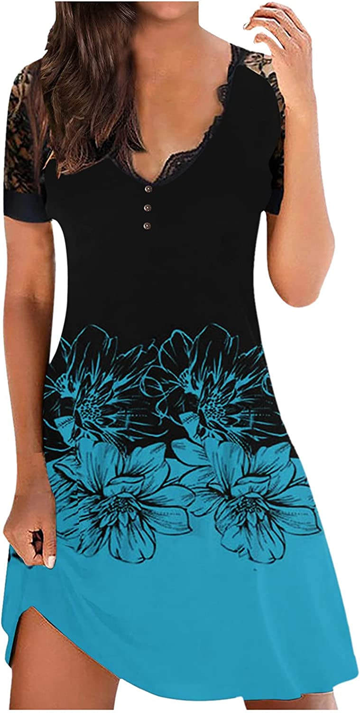 Women's Sexy V-neck Lace Stitching Short-sleeved Mini Dress High
