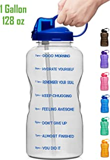 Giotto Large Gallon Motivational Water Bottle with Time Marker & Straw, Leakproof Tritan BPA Free, Ensure You Drink Enough Water Daily for Fitness, Gym and Outdoor Sports