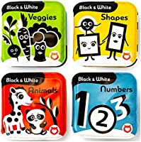 BabyBibi Bath Books – Set of 4 Black and White Waterproof Books – Makes Fun Squeaking Noise - Encourages Early...