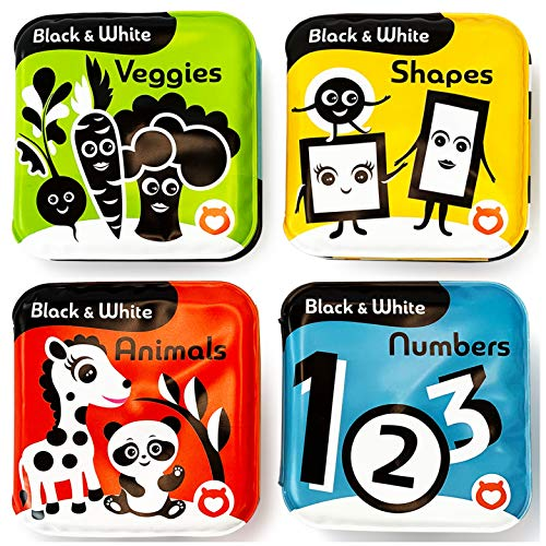 BabyBibi Bath Books – Set of 4 Black and White Waterproof Books – Makes Fun Squeaking Noise - Encourages Early Development – Books for Babies and Toddlers – Suitable from 3+ Months – ASTM Certified