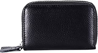 Elenxs Women Men Double Zipper Credit Card Wallets RFID Blocking ID Holder Leather Card Cases Pouch Bag Handbag