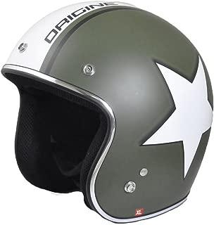 Origine O500 Jet 3/4 Open Face Motorcycle Helmet DOT Cafe Racer Retro Vintage (Flat Green/White Army Star)