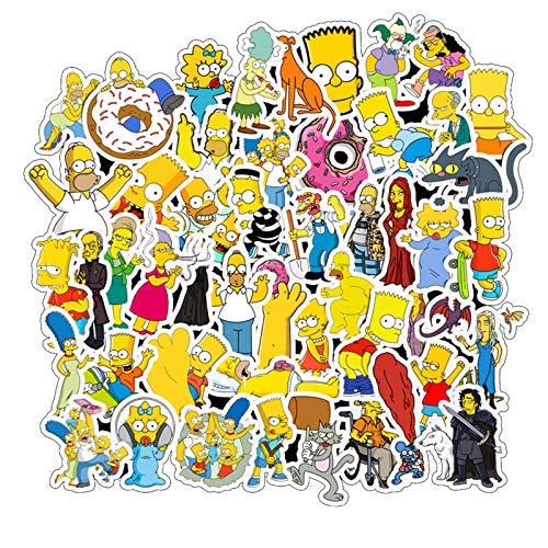 The Simpsons Family Cartoon wasserdichte Laptop-Aufkleber für Skateboard, Snowboard, Auto, Fahrrad, Gepäck, 50 Stück The Simpsons Family