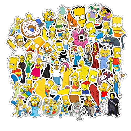 The Simpsons Family Cartoon Waterproof Laptop Stickers Waterproof Skateboard Snowboard Car Bicycle Luggage Decal 50pcs Pack