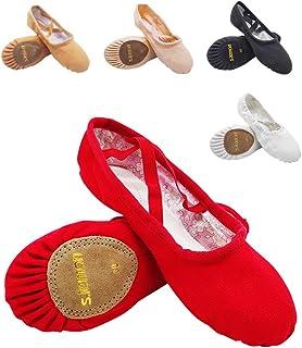 S.lemon Doble Capa Lona Zapatos de Ballet Zapatillas de Baile para Niñas Mujeres Niños Hombres