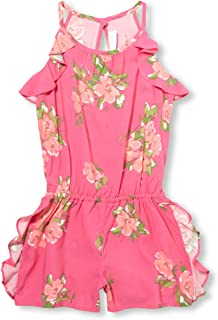 Girls' Big High Neck Graphic Ruffle Floral Romper