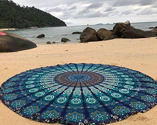 raajsee Indien Strandtuch Rund Mandala Hippie/Groß Indisch Rundes Baumwolle/Boho Runder Yoga Matte Tuch Meditation/Tischdecke aufhänger Decke Picknick handgefertigt Teppich 70 inch (Blaues Mandala)