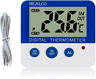 HEALCO Digital Freezer/Fridge Thermometer with Magnet and Stander Digital Refrigerator Thermometer with LED Alarm Indicato...