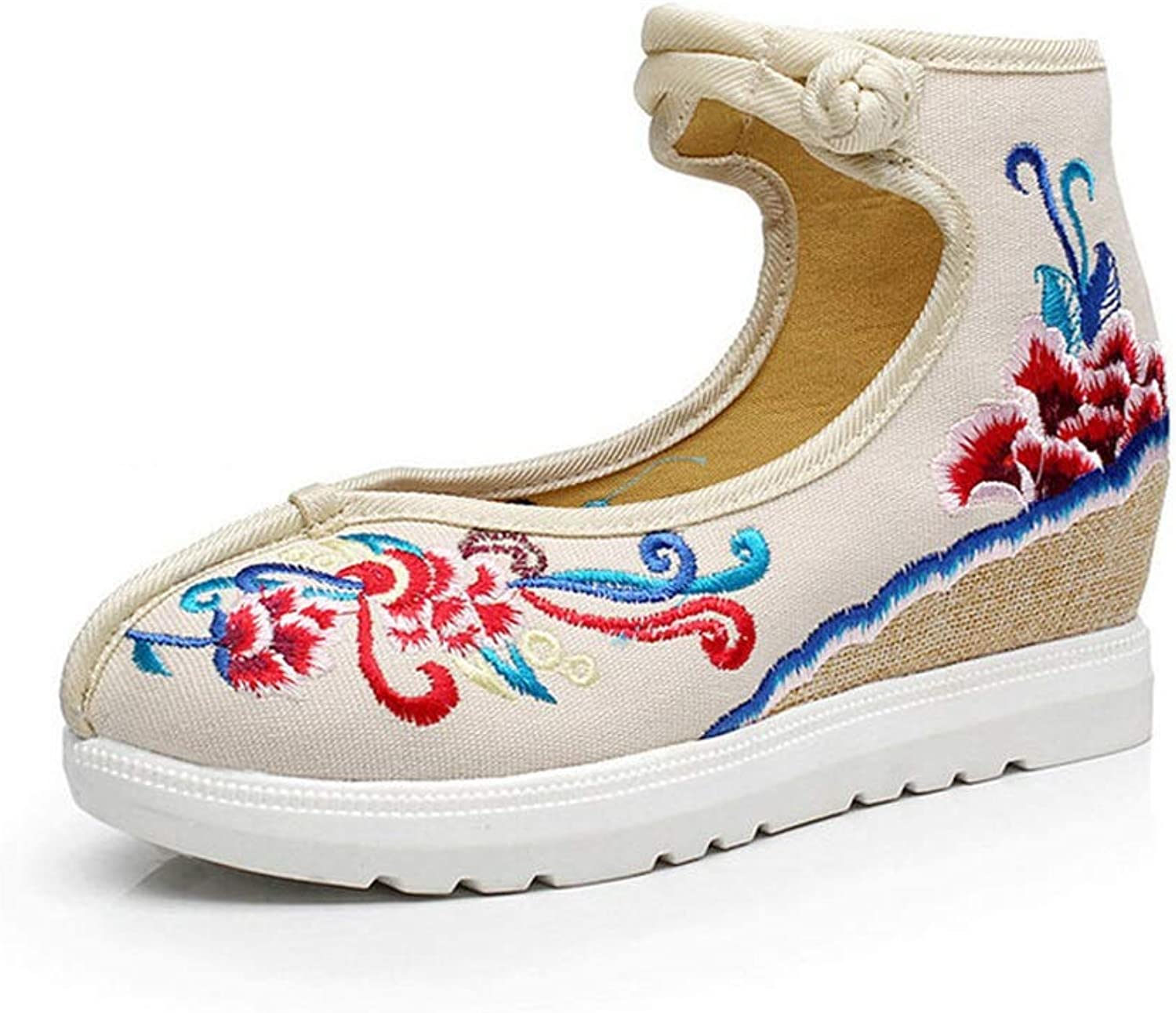 Old Beijing Cloth shoes Spring National Wind Women's shoes Cotton and Linen Canvas Embroidered shoes Increased in The Women's shoes