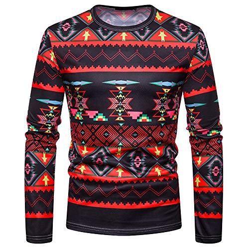 DNOQN Herren Pullover Slim Fit Baumwoll Shirts Herren Herbst Lässige African Indian Drucken Dashiki Langarm Pullover Top Bluse L