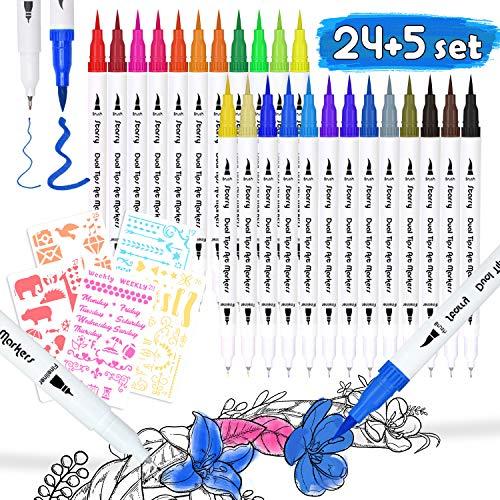 DYFFLE Dual Brush Pen Set - 24 Farben+5 Schablonen, Bullet Journal Zubehör Stifte, Pinselstifte, Filzstifte, Malstifte, Kombimaler, Watercolor Effekte Aquarellpinsel für Manga, Kalligraphie