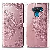 Bear Village Hülle für LG Q60 / LG K50, PU Lederhülle Handyhülle für LG Q60 / LG K50, Brieftasche Kratzfestes Magnet Handytasche mit Kartenfach, Roségold