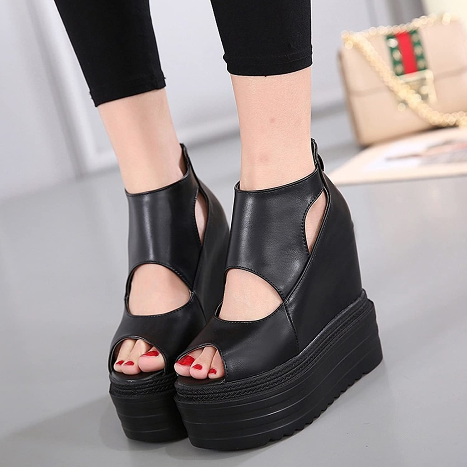 High Heels Fish Mouth shoes Super high Heels Increased high Cakes shoes Hollow Waterproof shoes 14CM Wedge Heel Platform shoes Ladies sandals (color   Black, Size   34)