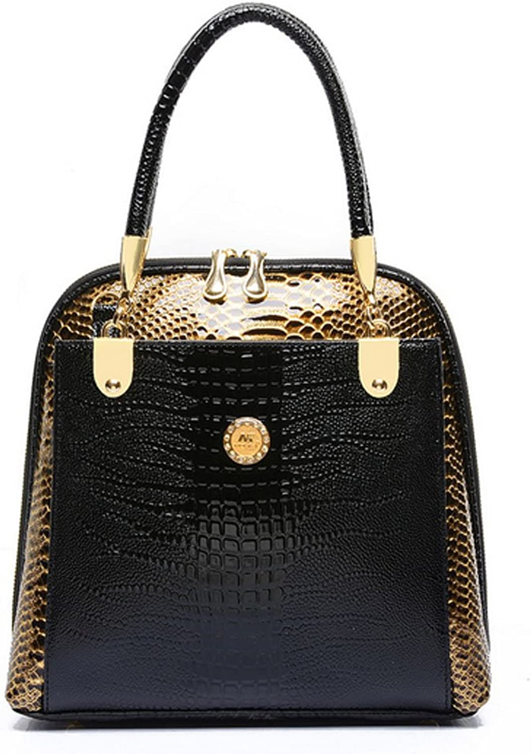 Fleeting Time Snakeskin Pattern Handbag Hit color Portable Shoulder Bags