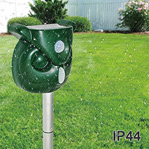 ZOVENCHI Ultrasonic Animal Repeller, Solar Powered Outdoor Animal Repeller, Motion Activated with Solar Power and USB Charge, Very Effective for Cats, Dogs, Raccoons, Skunks, Squirrels and More