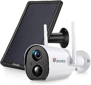 10000mAh Caméra de Surveillance WiFi sur Batterie Rechargeable avec Panneau Solaire Ctronics Caméra Surveillance Extérieur...