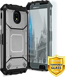 TJS Phone Case for Samsung Galaxy J2 Core/J2 2019/J2 Pure/J2 Dash/J2 Shine, with [Tempered Glass Screen Protector] Aluminum Metal Premium Shockproof Military Built-in Metal Plate Back Cover (Grey)