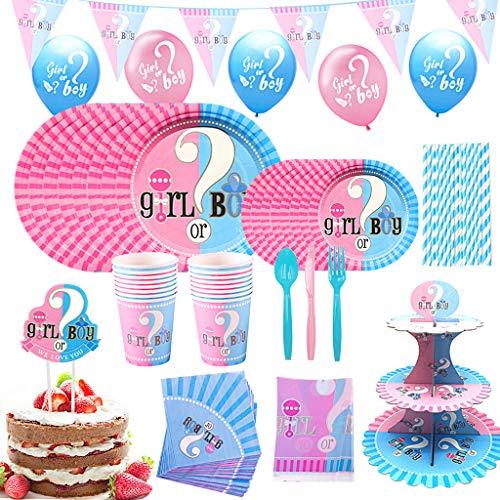 DreamJing 147 pezzi Boy or Girl Paty, set di stoviglie per feste di genere, decorazioni per festa di compleanno, palloncini per la doccia del bambino, set di decorazioni per 16 ospiti