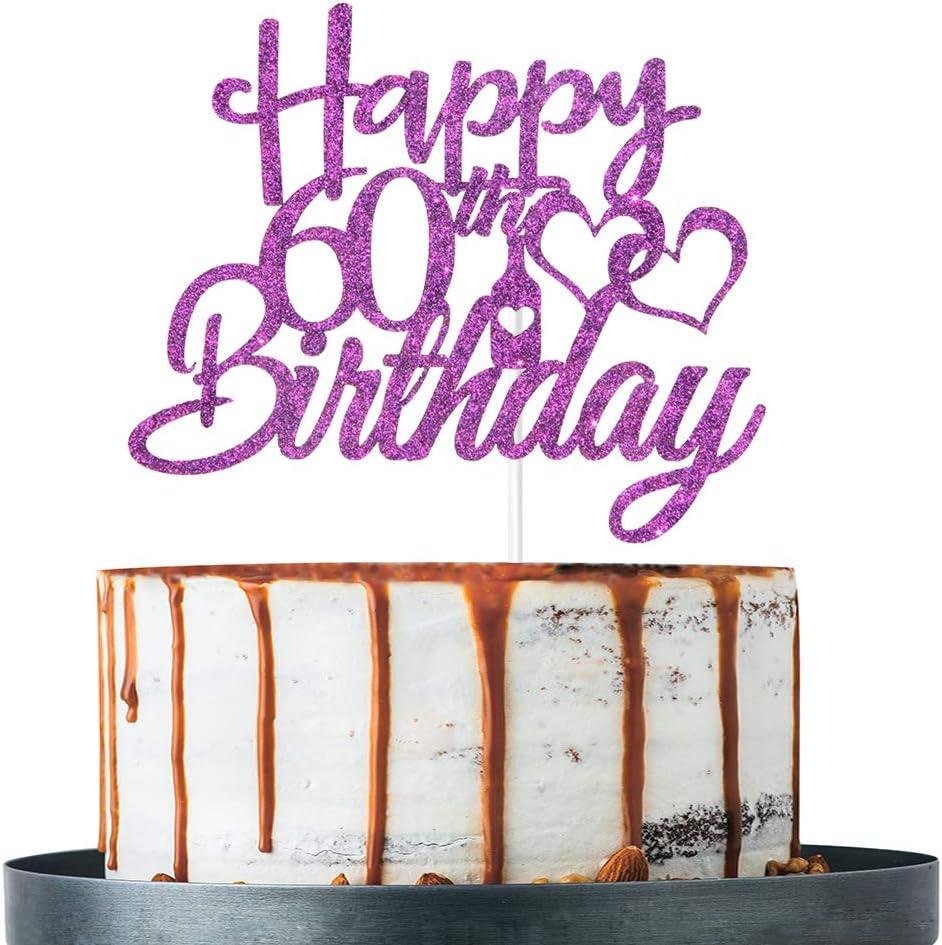 Ranking TOP2 Ranking TOP17 Purple Glitter 60th Birthday Cake Decorati Topper