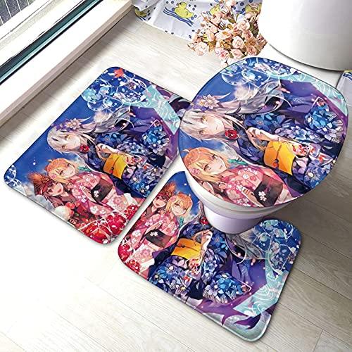 huancheng Cleopatra Anime - Juego de almohadillas antideslizantes para baño, 3 piezas, alfombra antideslizante, alfombrilla de contorno, juego de tapa de inodoro
