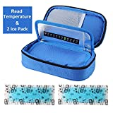 Temperature Display Insulin Cooler Travel Case with Ice Chill Packs Medical Cooler Bag Diabetic Organizer Oxford Fabric, 8 x 4 Inch