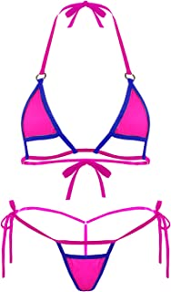 Women Sexy Halter Neck Swimsuit Hollow Micro Mini Bikini Set 2 Pieces