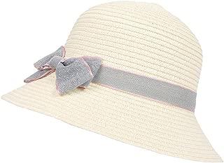 YSNRH Hat Girls Summer Beach Princess Straw Hat Wide Brim Bowknot Adjustable Packable Sun Cap Sun Summer Cap Fedora Hat Panama Cap- 7 Colours (Yellow) Camping,Outdoor,Hiking,Summer (Color : White)