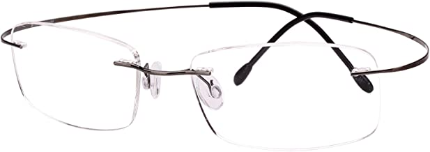 Agstum Pure Titanium Rimless Frame Prescription Hingeless Eyeglasses Rx