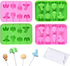 Halloween Candy Molds Silicone Lollipop Molds 4 Pcs Chocolate Lollipop Molds including Pumpkin, Evil, Skull, Ghost candy m...