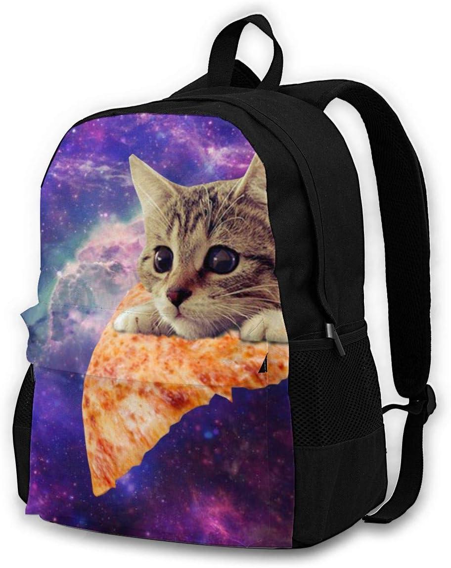 Galaxy Pizza Cat Adult Kids Unisex Backpack School Children Book Bag Travel Backpacks Lightweight Daypack for Boys Girls Mens Womens