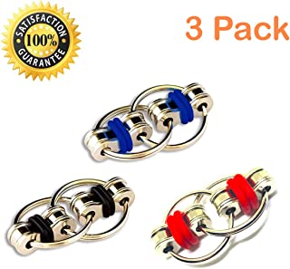Fidget Flippy Bike Chain Toy Relieves Stress, Anxiety and Boredom at Work, Home or School (Red/Black/Blue)