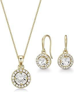 Mestige Women Glass Golden Nylah Set with Swarovski Crystals