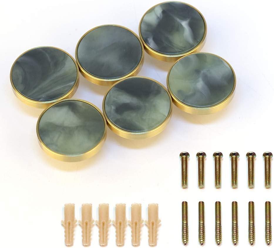 EVERGD T/ürknauf Kleiderhaken f/ür Schubladen goldfarben 32 mm Wandmontage Messing 6 St/ück Schr/änke grau-gr/ün