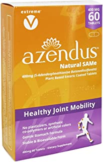 Azendus Natural SAM-e Joint Health Support, 60 Count, 400mg, Physician Trusted, 1 Recommended, Pure, Natura...