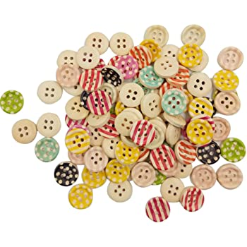 Kocome 100Pcs Mixed Color 15mm Polka Dot Rustic Plaid Handmade Small Wooden Buttons