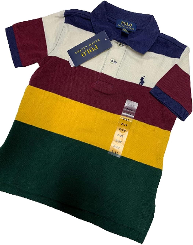 Polo Ralph Lauren RED Boys Short Sleeve Stripe Polo Shirt, US 4/4T
