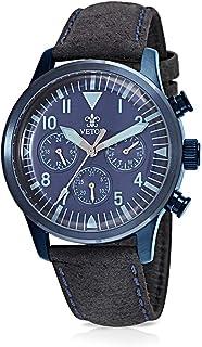 Vetor Watch for Men, Analog, Chronograph, Leather Band, Black, VT028M050205