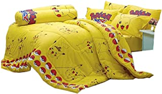 Pokemon Official Licensed Yellow Bedding Set, Bed Sheet, Pillow Case, Bolster Case (Not Included Comforter) SL502 Set B Size 60