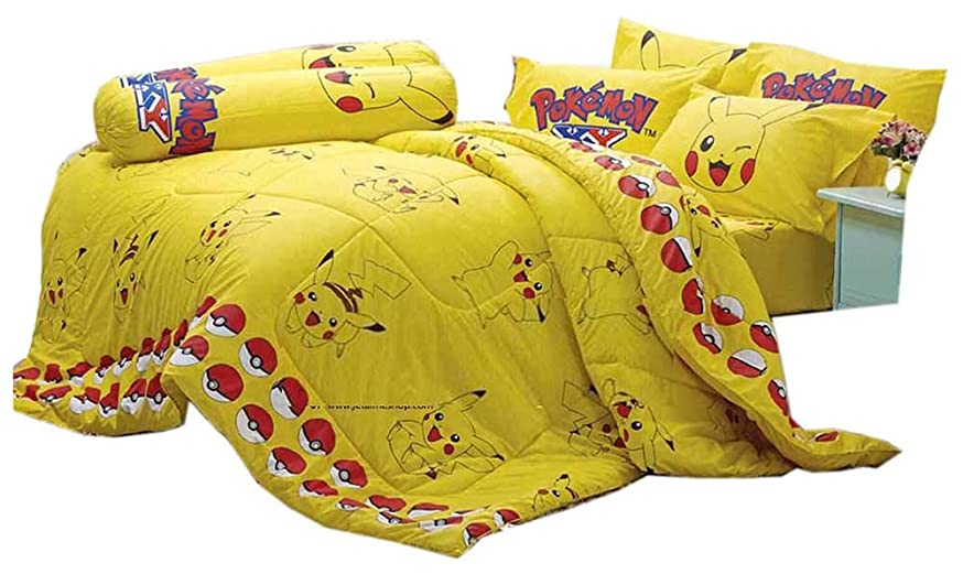 混合ガウンライバルポケットモンスター公式ライセンスイエロー寝具セット、ベッドシート掛け布団、枕ケース、Bolsterケース(含まれません) sl502 クイーン イエロー