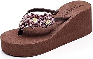 33ce9d9143 Tongs Femme Compensées Flip Flops Fille Eté Chaussures de Plage à Talons  Pantoufles Bohème Plateforme Sandales